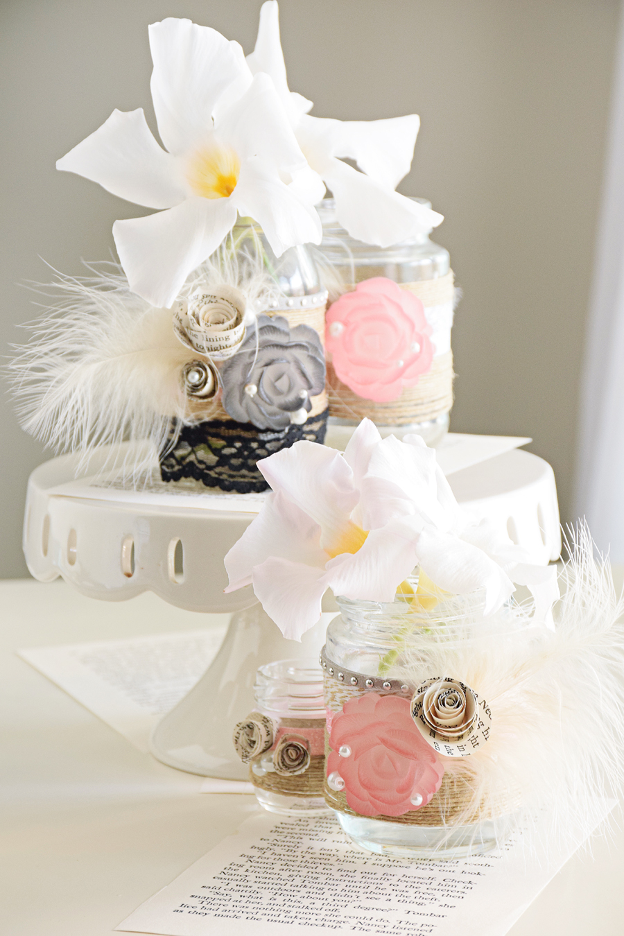 Gatsby Mason jars - wedding DIY crafts by Quiet Lion, quietlioncreations.com