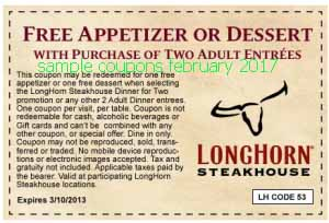 Longhorn Steakhouse coupons february 2017