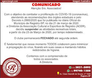 Comunicado do Clube ACER sobre o Coronavírus