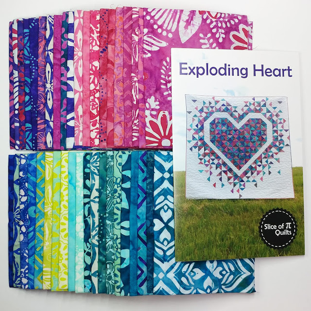 Exploding Heart quilt pattern and Confection Batiks by Kate Spain for Moda