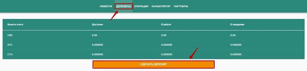 Создание депозита в NTCInvest