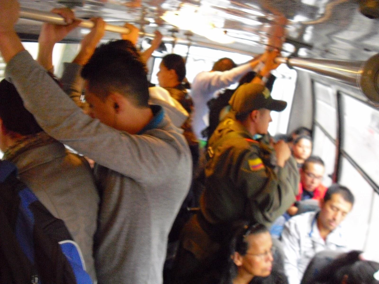 A crowded Bogotá D.C. bus.
