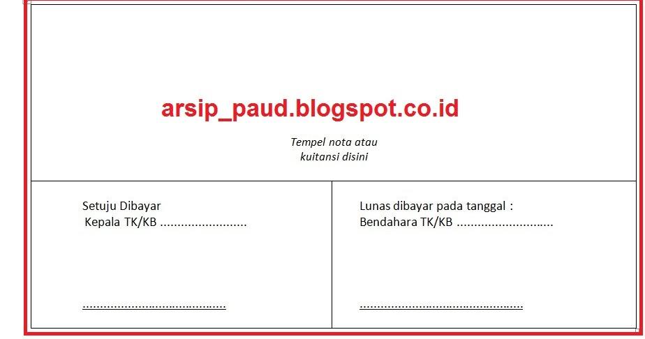Format Penempatan Kuitansi Nota Pada Lpj Bop Paud Arsip Paud