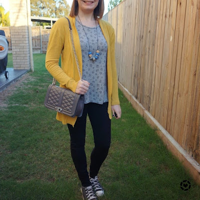 awayfromtheblue Instgaram | mum style park playdate outfit mustard cardigan leopard print tee skinny jeans converse