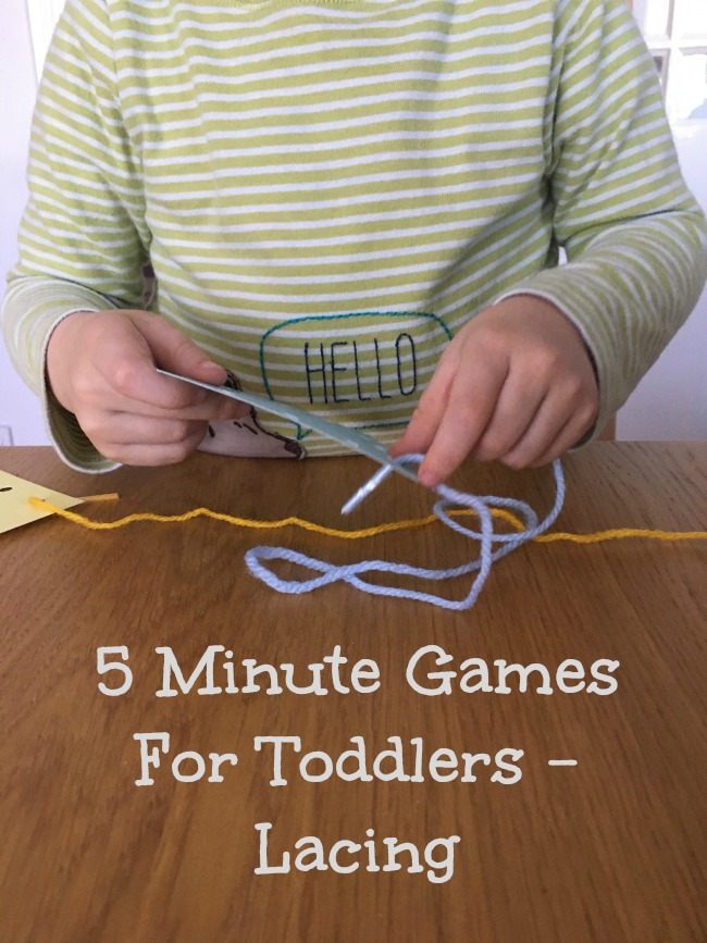 5-minute-games-for-toddlers-lacing-text-over-image-of toddler-threading-yarn-through-holes-in-card