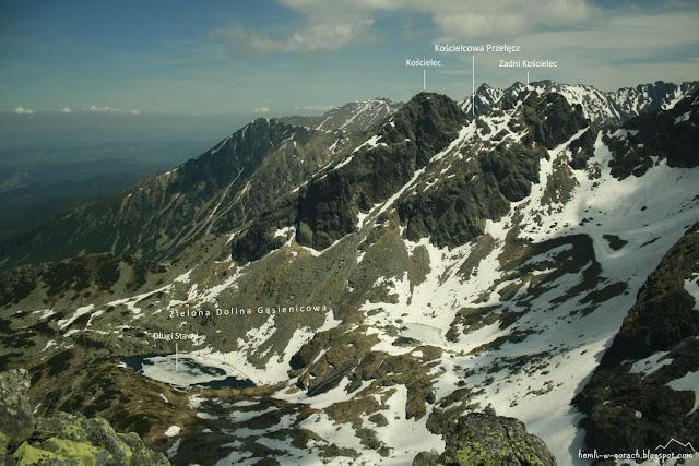 Widok na Kościelcową Przełęcz