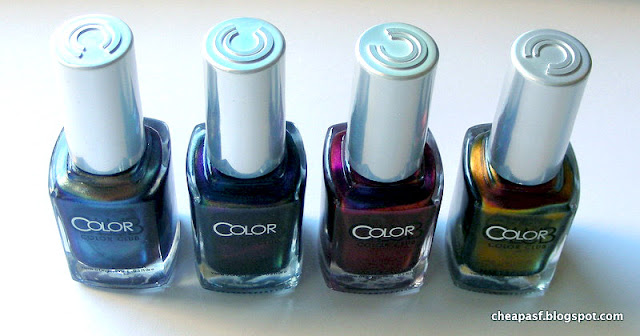 Color Club Oil Slick collection: Cash Only, It's Raining Men, We'll Never Be Royals, and Burnt Out