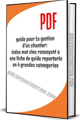 guide pour La gestion d'un chantier: index mot cles renvoyant a une fiche de guide repertorie en 4 grandes cateegories PDF