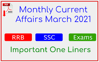 March 2021 Month Current Affairs Important One Liners