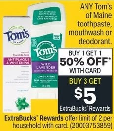 Tom's of Maine Toothpaste CVS Deal 9/5-9/11