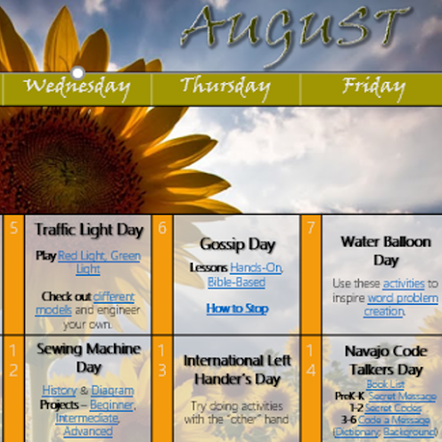 Preschool to sixth grade learning activities for daily August holidays