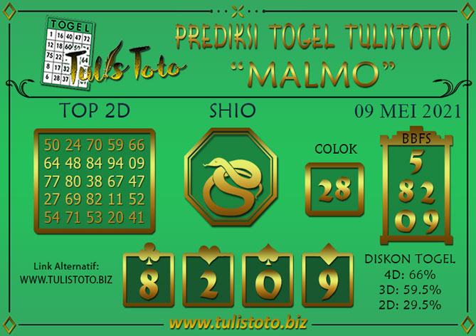 Prediksi Togel MALMO TULISTOTO 09 MEI 2021
