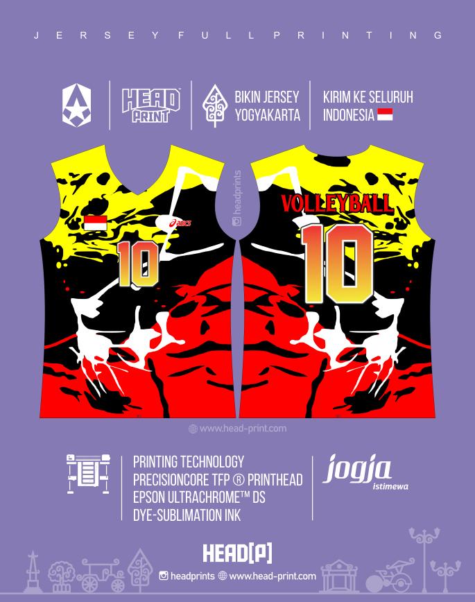 Merah Kuning Jersey Voly Volley Contoh Desain Jersey Voly - Badminton Jersey - Futsal Jersey - Headprint Yogyakarta