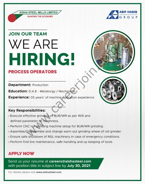 Aisha Steel Mills Ltd ASML Jobs July 2021