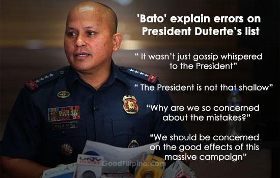 PNP chief 'Bato' explain errors on President Duterte's list of names