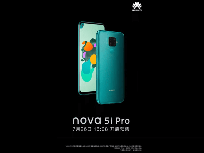Huawei confirms key Nova 5i Pro specs, to be announced on July 26!