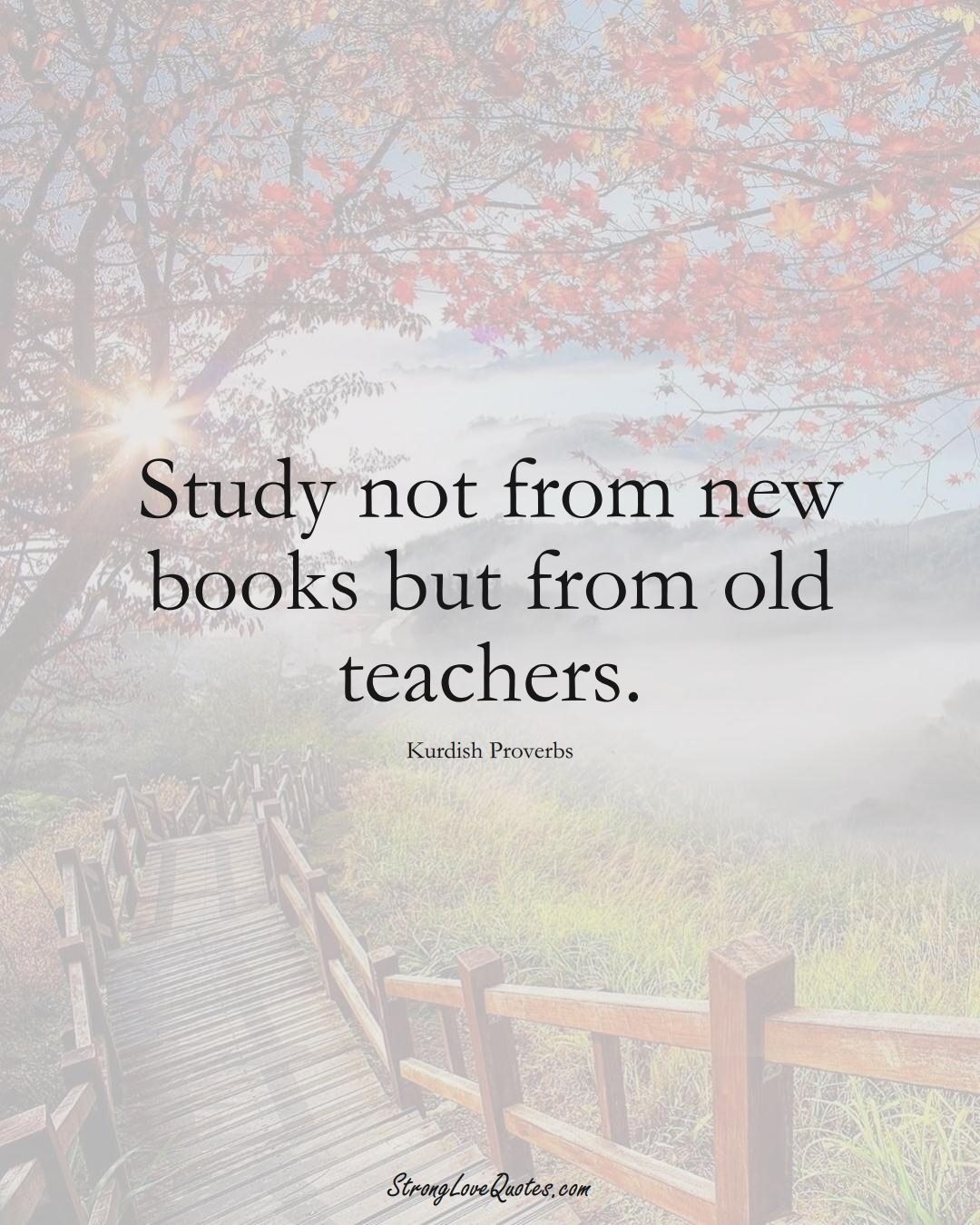 Study not from new books but from old teachers. (Kurdish Sayings);  #aVarietyofCulturesSayings
