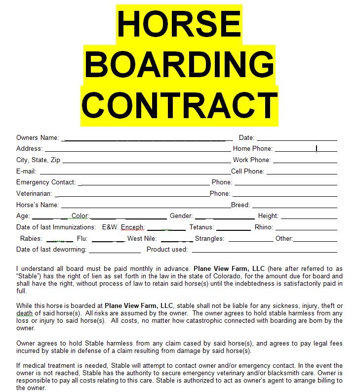 Horse Boarding Contract Sample Template Form In Doc Word Sample
