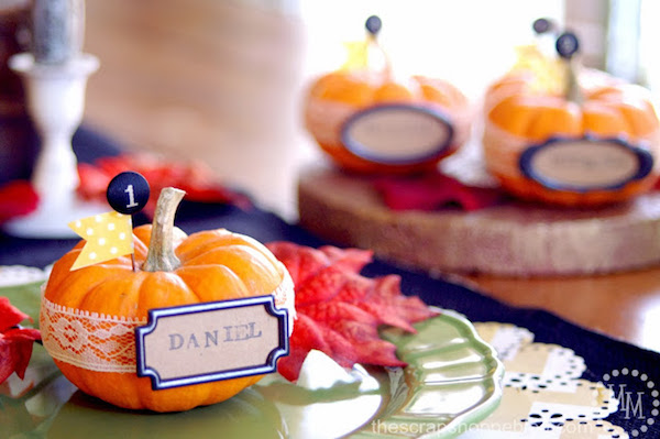 "DIY Pumpkin Place Setting for ""DANIEL"" with lace and a flag banner"
