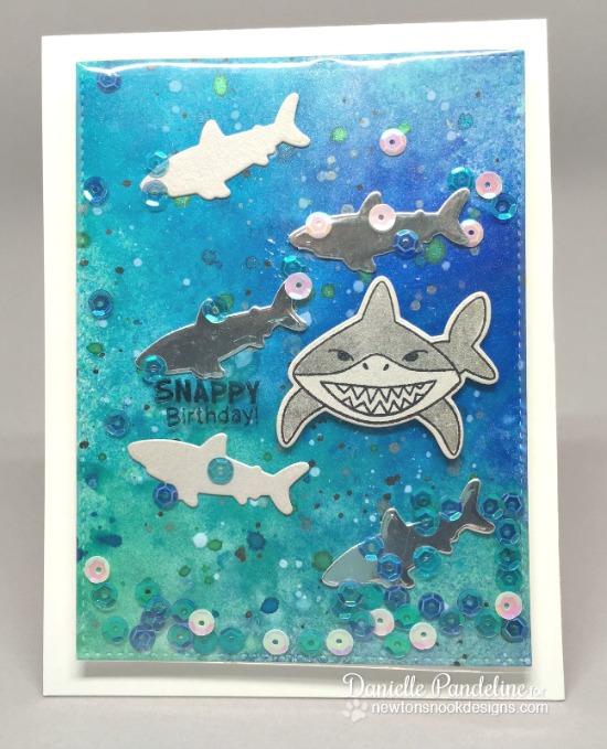 Shark Week Day 4 - Shark Card by Danielle | Shark Bites Stamp set and Die Set by Newton's Nook Designs #newtonsnook #sharkweek