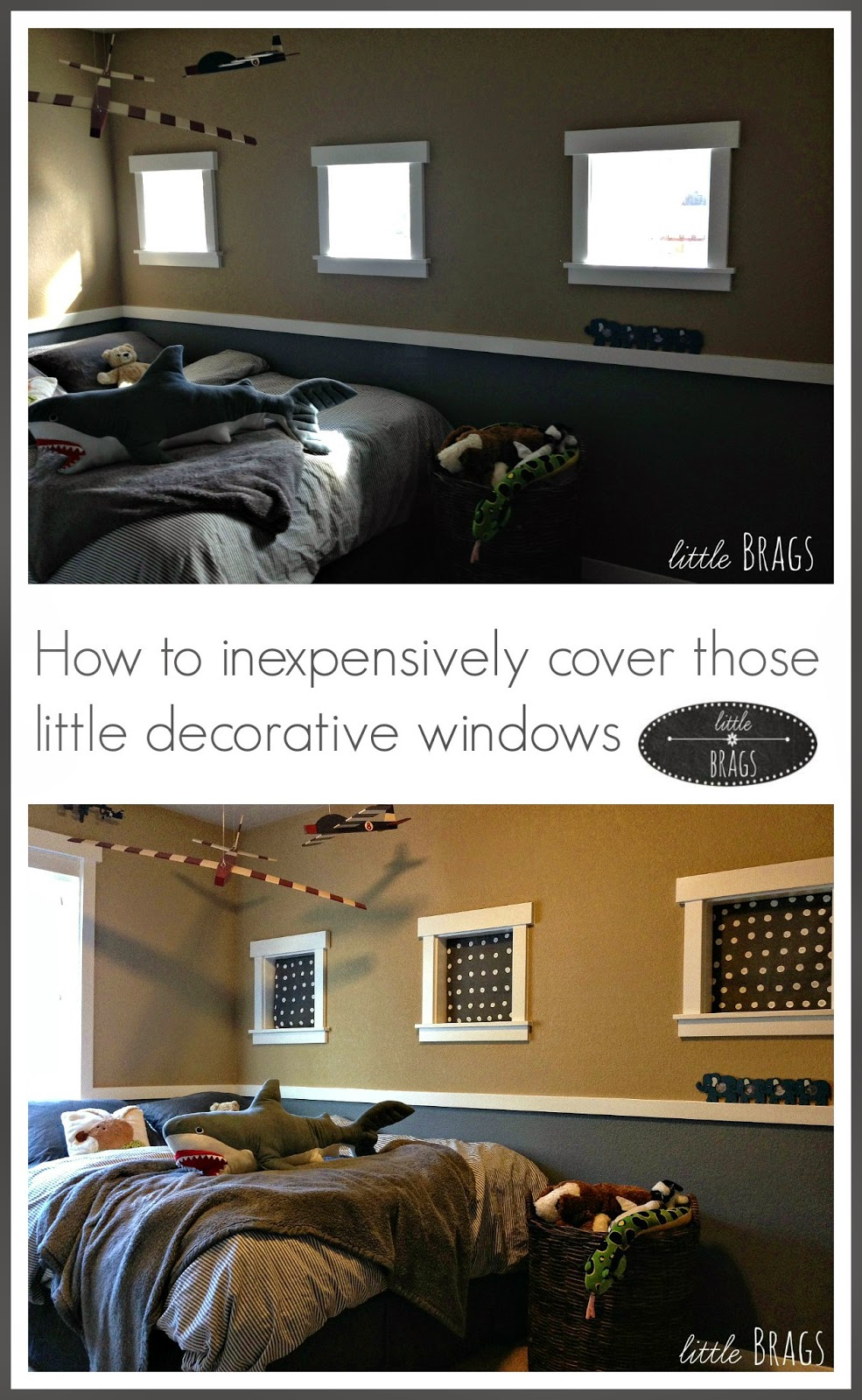 Little Brags How To Inexpensively Cover Little Decorative Windows