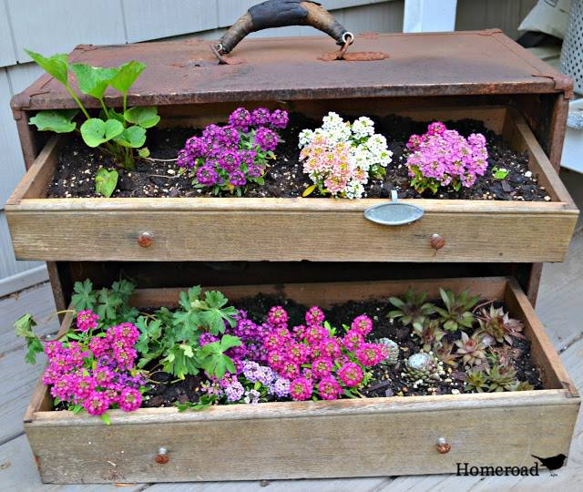 Planters made from found items