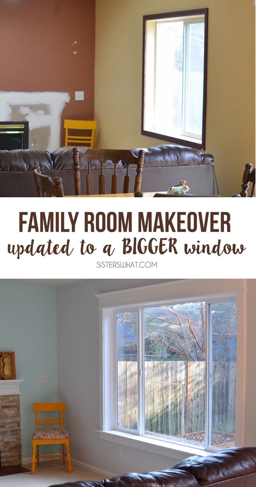 Family Room makeover replacing smaller window with bigger window