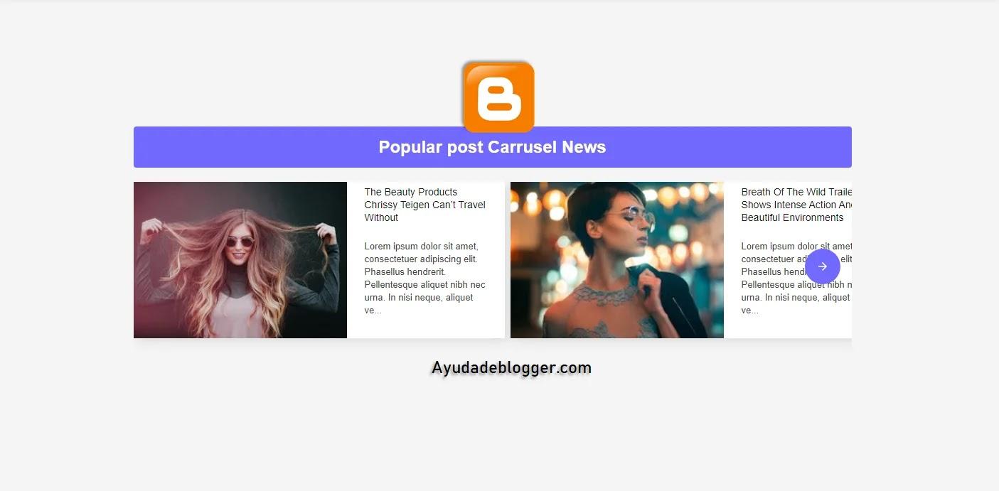 Entradas populares para Blogger Slideshow - Popular post Blogger
