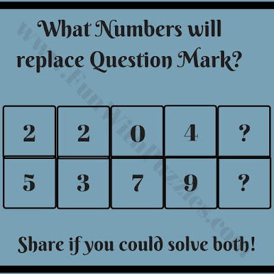 Logic Maths Question to find value of missing numbers which will replace the question marks