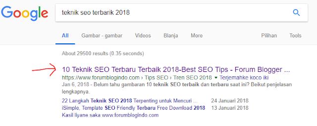 Contoh kenampakan keyword tutorial seo terbaru terbaik lengkap 2018