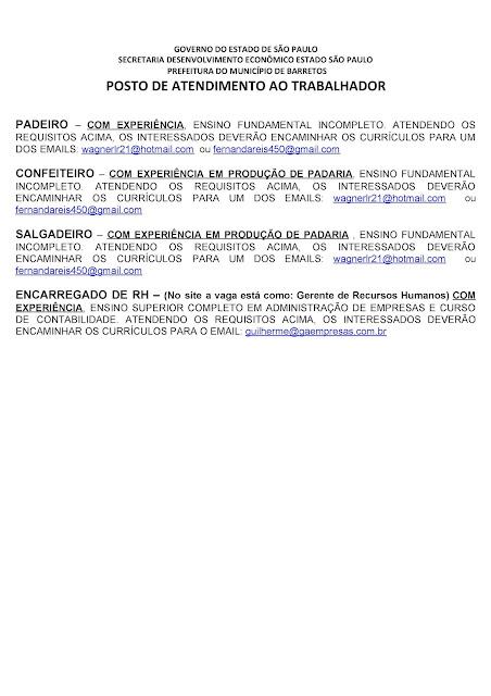 VAGAS DE EMPREGO DO PAT BARRETOS PARA 05-08-2020 PUBLICADAS NA TARDE DE 04-08-2020 PAG. 4