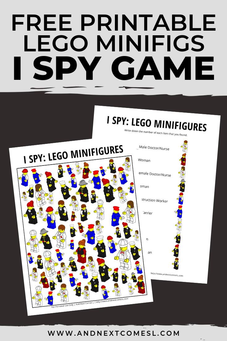 Free I spy game printable for kids: LEGO themed