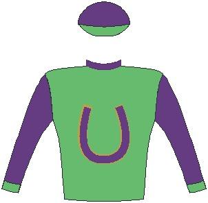 Jockey silks of Mrs S Plattner - Colours: Grass green, indigo horseshoe, gold trim, indigo collar, sleeves and cap, grass green cuffs and peak