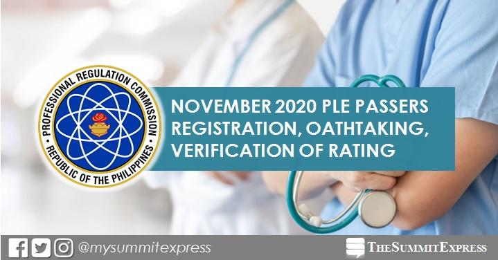 November 2020 PLE: Passers registration, verification of ratings, oathtaking