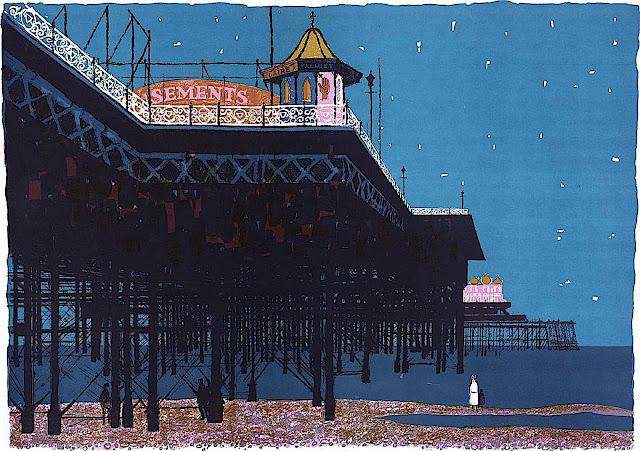 Bernard Brett art 1974, the pier boardwalk at night