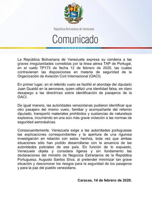 """Cancillería de Maduro denunció que Guaidó utilizó una """"identidad falsa"""" para abordar avión de TAP"""