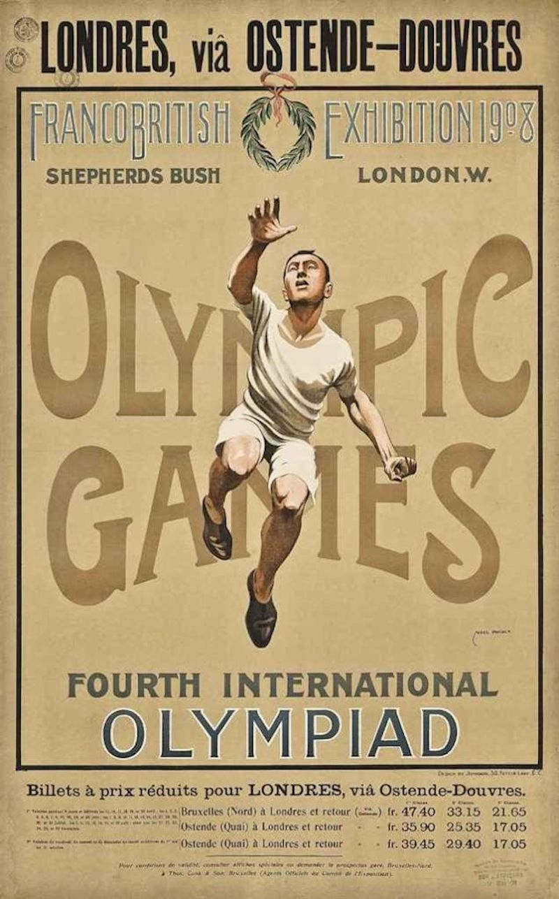 Promotional Poster 1908 Olympic Games Shepherds Bush London, in French. Your Russians are missing and other stories about past Olympics. marchmatron.com