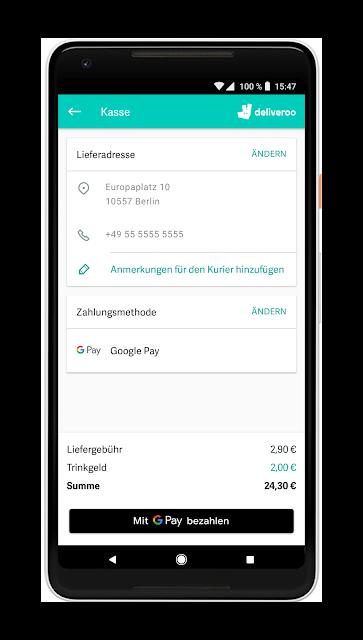 Screenshot einer Online Bezahlung