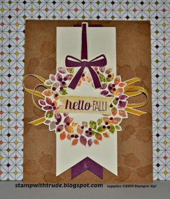Stampin' Up! Wonderous Wreath stamp set fall card by Trude Thoman http://stampwithtrude.blogspot.com