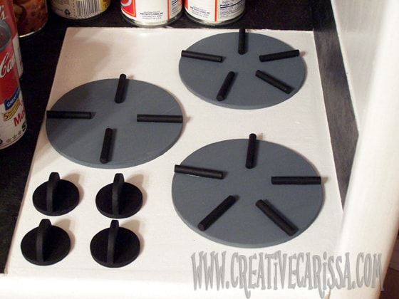 Making stove top for DIY play kitchen