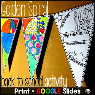 Back to School Math Pennant and Glyph Activity - print and digital