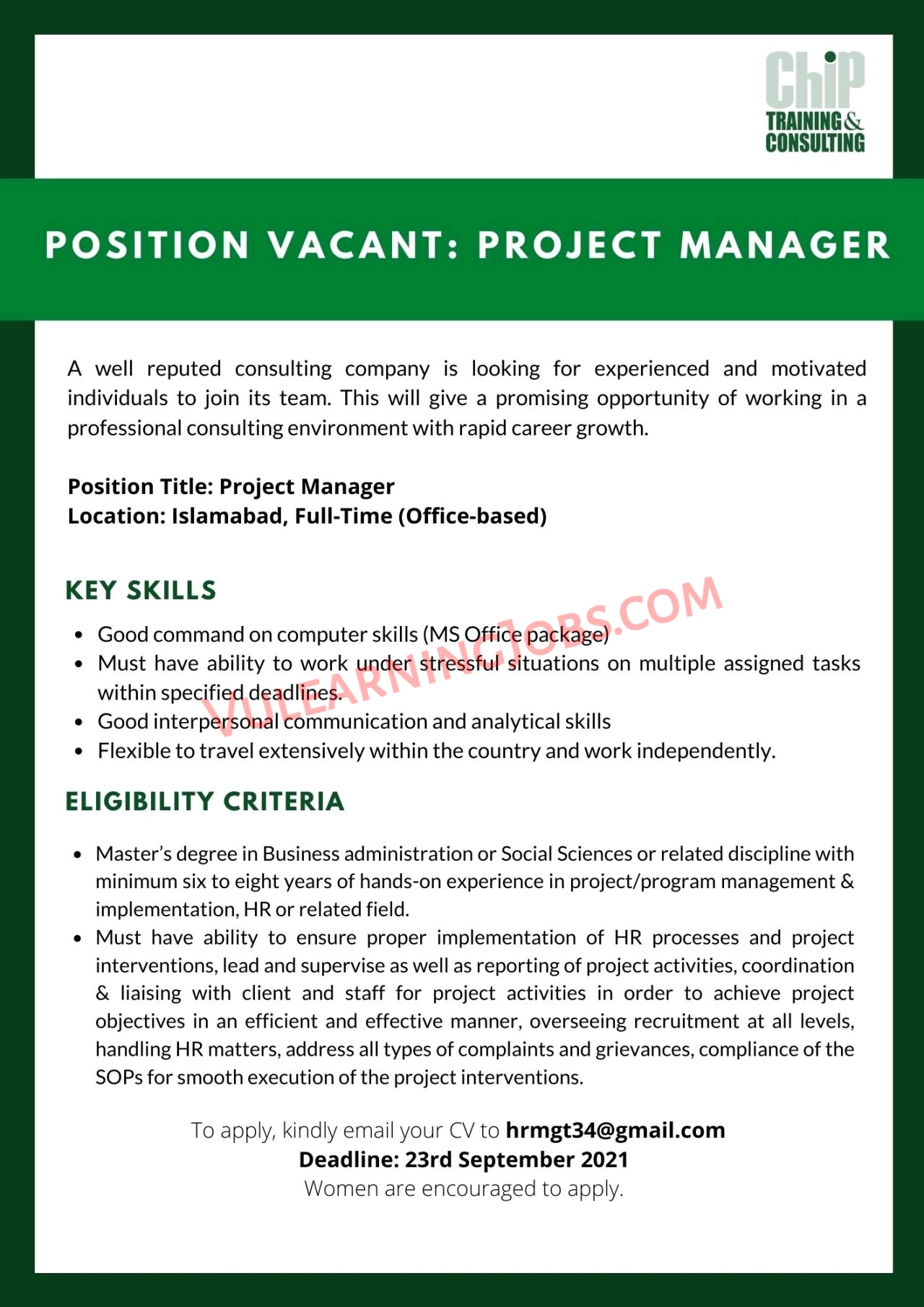 CHIP Training and Consulting Pvt Ltd Jobs September 2021 For Project Officer, Project Manager & Software Developer Latest
