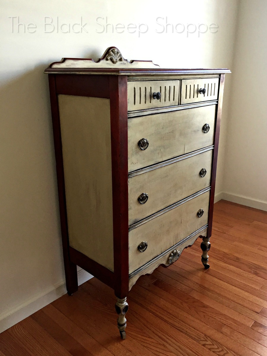 Side view of vintage farmhouse dresser