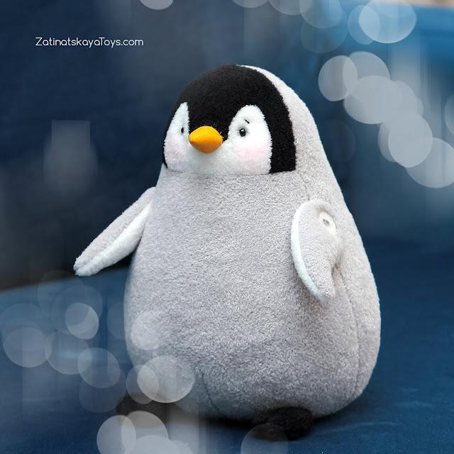 пингвин мягкая игрушка, которого я сделала своими руками по оригинальной выкройке