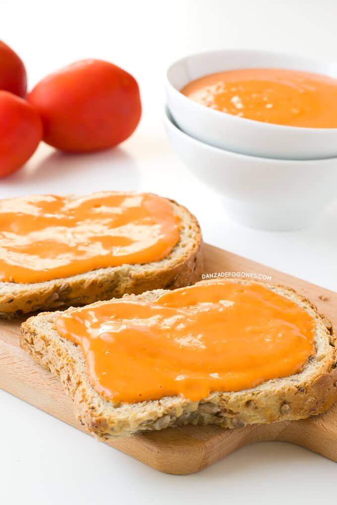 Bread with salmorejo | danceofstoves.com