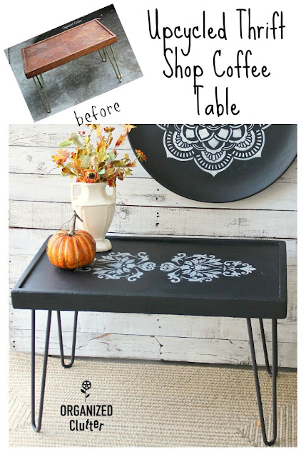 Thrift Shop Coffee Table Upcycled with Dixie Belle Paint & Stencils #decoartstencil #brocade #dixiebellepaint #caviar #upcycle #furnitureupdate #thriftshopfind