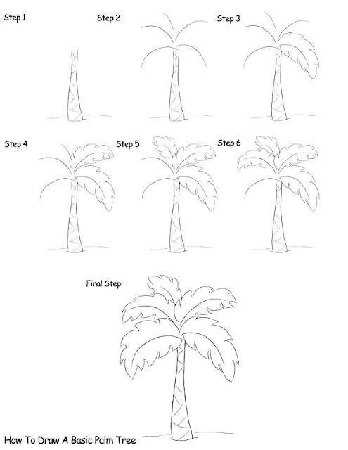 طريقة رسم نخلة