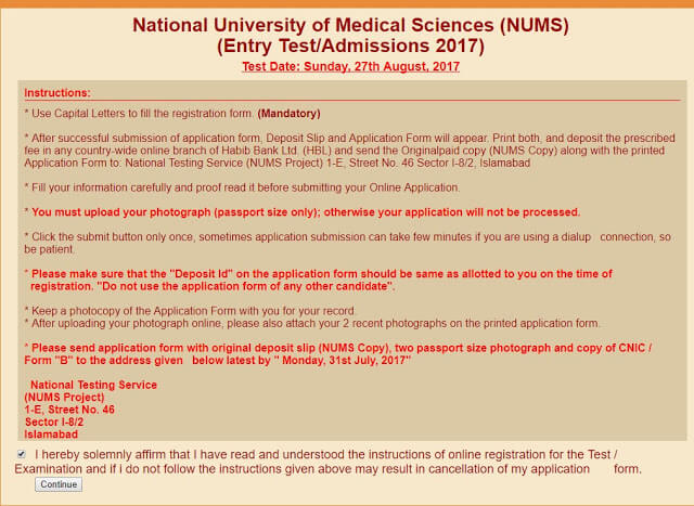 Instruction before submitting the form for NUMS