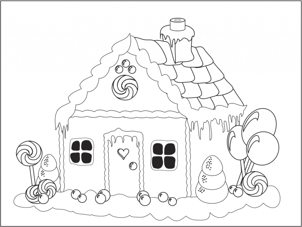 Xmas coloring pages for Coloring pages of gingerbread houses