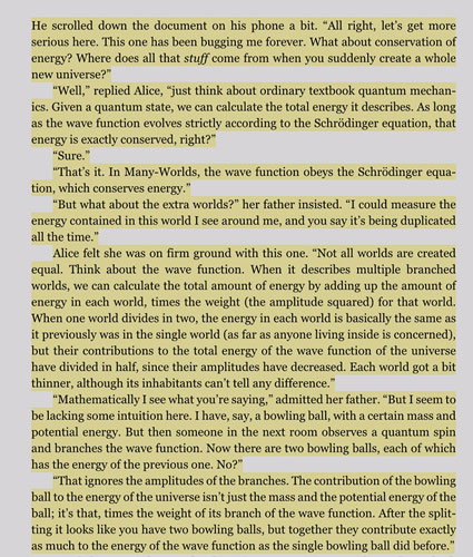 """Energy conservation and MultiWorlds fit together nicely (Source: S. Carroll, """"Something Deeply Hidden"""")"""